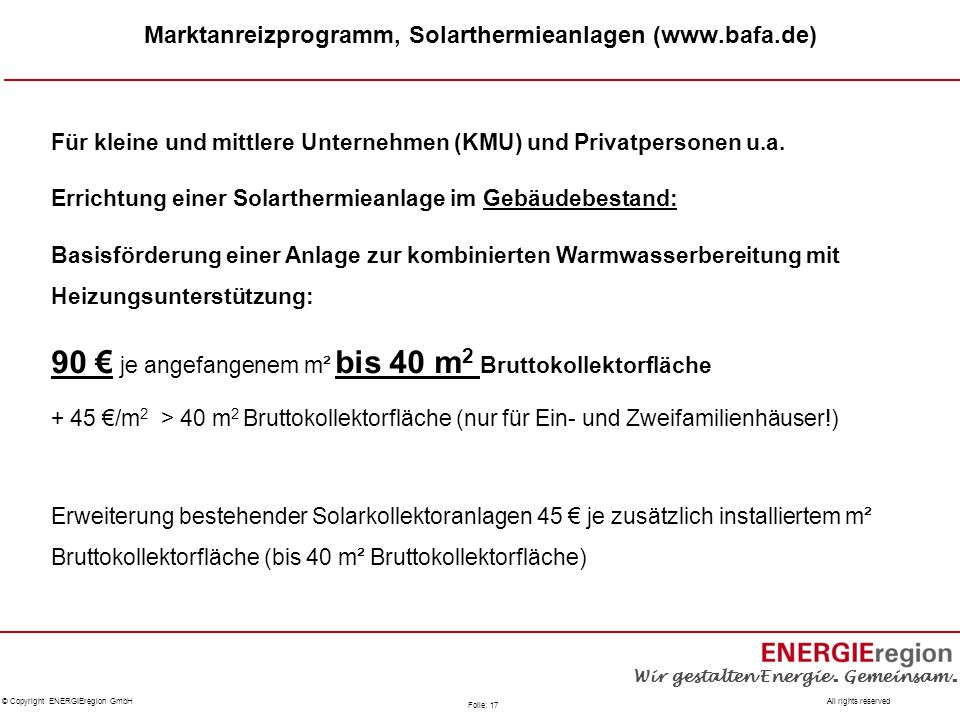 Marktanreizprogramm, Solarthermieanlagen (www.bafa.de)
