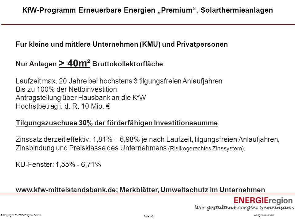 """KfW-Programm Erneuerbare Energien """"Premium , Solarthermieanlagen"""