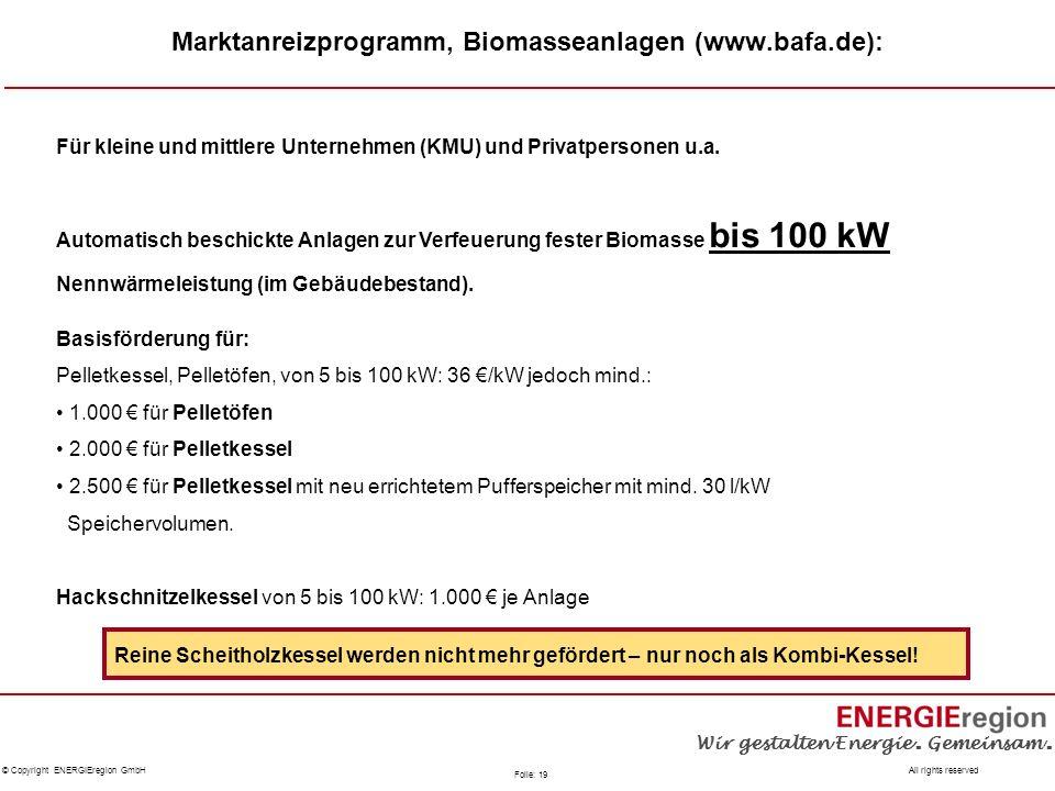 Marktanreizprogramm, Biomasseanlagen (www.bafa.de):