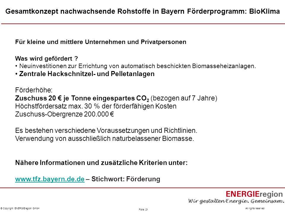 Gesamtkonzept nachwachsende Rohstoffe in Bayern Förderprogramm: BioKlima