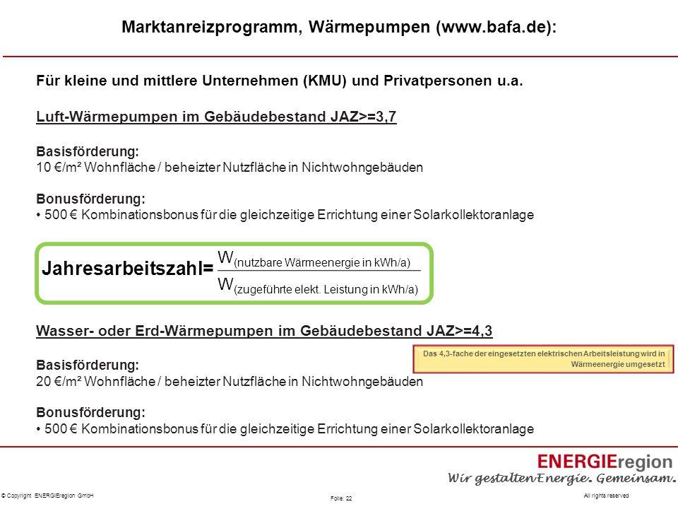 Marktanreizprogramm, Wärmepumpen (www.bafa.de):