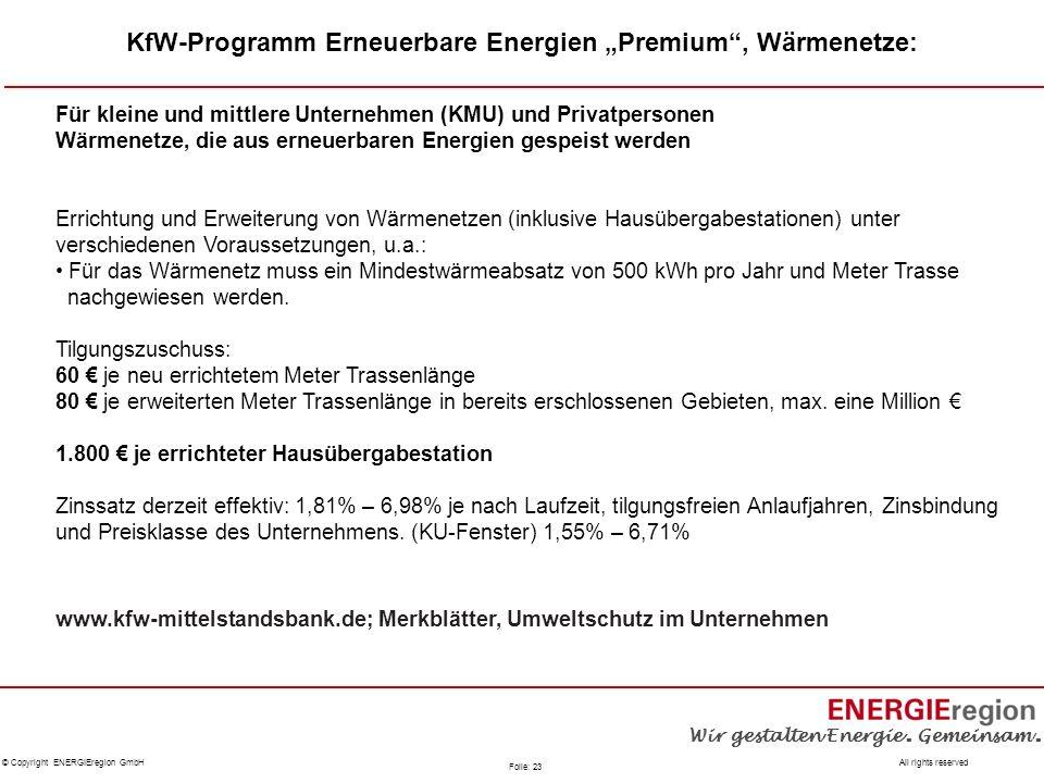 """KfW-Programm Erneuerbare Energien """"Premium , Wärmenetze:"""