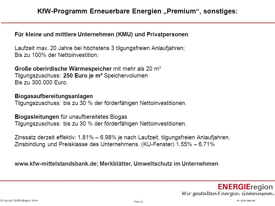 """KfW-Programm Erneuerbare Energien """"Premium , sonstiges:"""