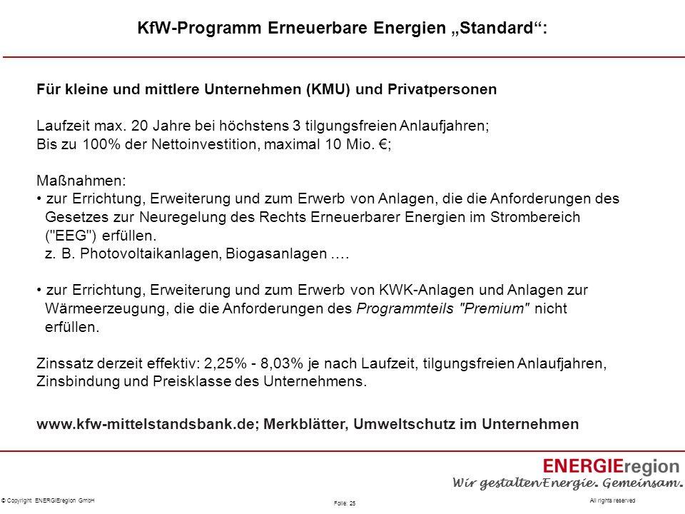 """KfW-Programm Erneuerbare Energien """"Standard :"""