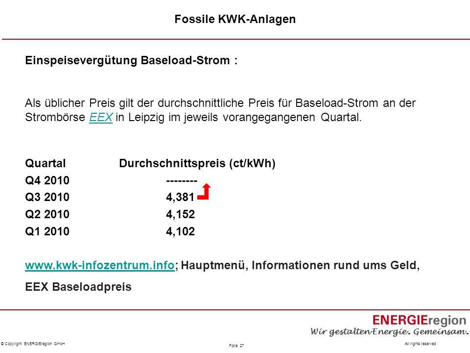 Fossile KWK-Anlagen Einspeisevergütung Baseload-Strom :