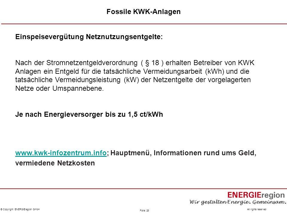 Fossile KWK-Anlagen Einspeisevergütung Netznutzungsentgelte:
