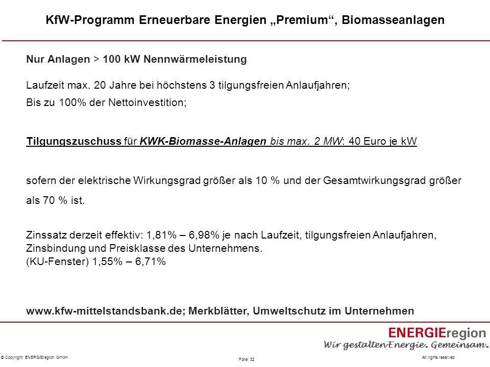 """KfW-Programm Erneuerbare Energien """"Premium , Biomasseanlagen"""