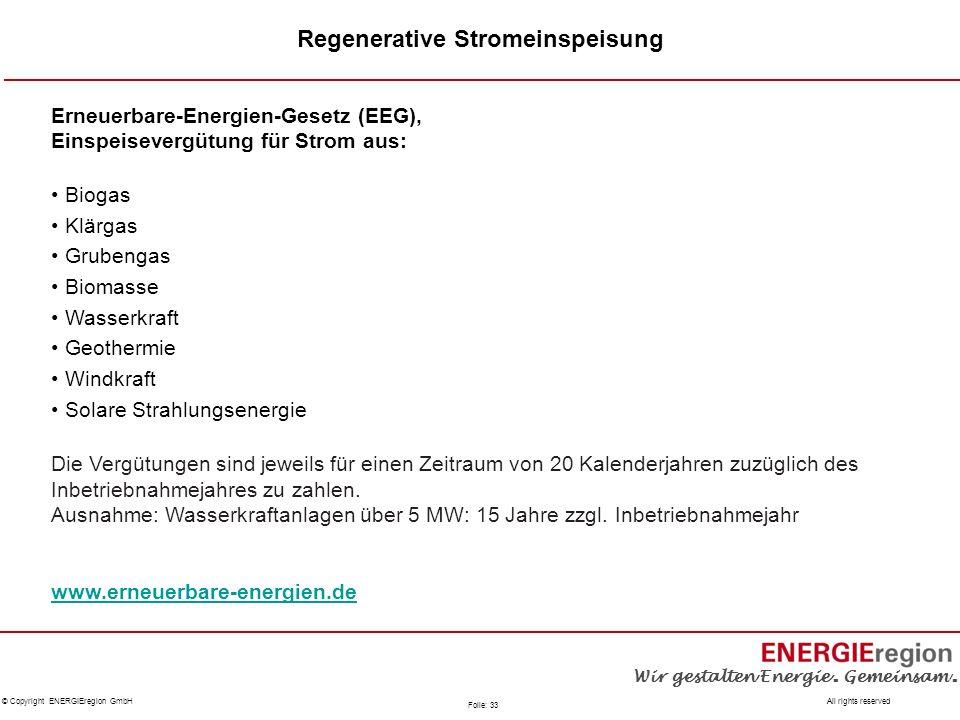 Regenerative Stromeinspeisung