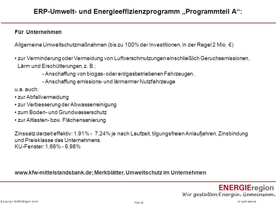 """ERP-Umwelt- und Energieeffizienzprogramm """"Programmteil A :"""