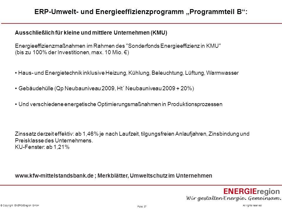 """ERP-Umwelt- und Energieeffizienzprogramm """"Programmteil B :"""