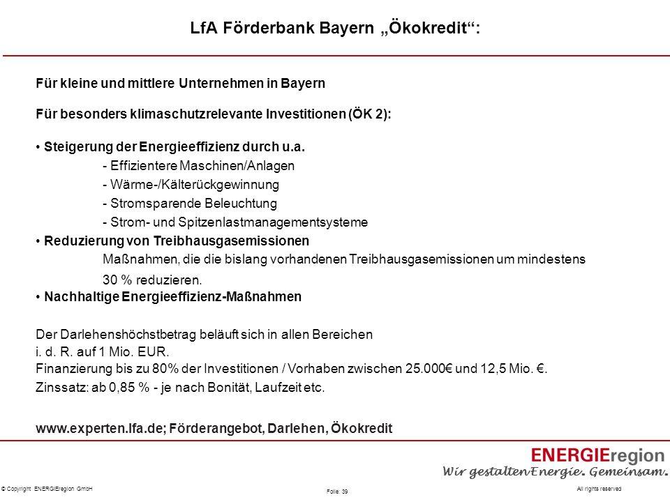 """LfA Förderbank Bayern """"Ökokredit :"""