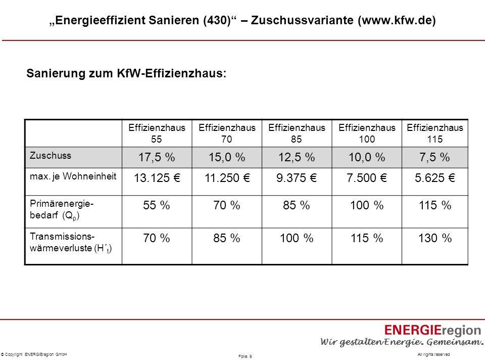 """""""Energieeffizient Sanieren (430) – Zuschussvariante (www.kfw.de)"""