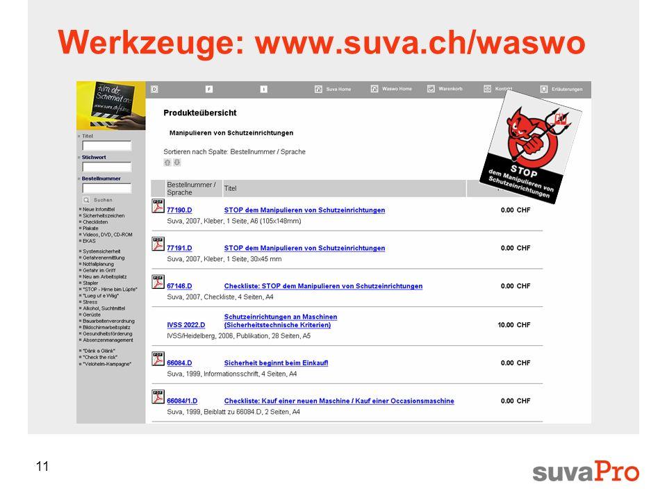 Werkzeuge: www.suva.ch/waswo