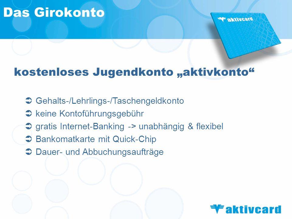 """Das Girokonto kostenloses Jugendkonto """"aktivkonto"""