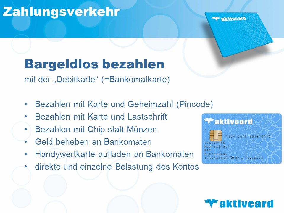 Zahlungsverkehr Bargeldlos bezahlen