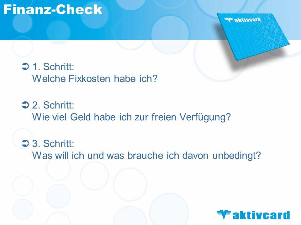 Finanz-Check 1. Schritt: Welche Fixkosten habe ich
