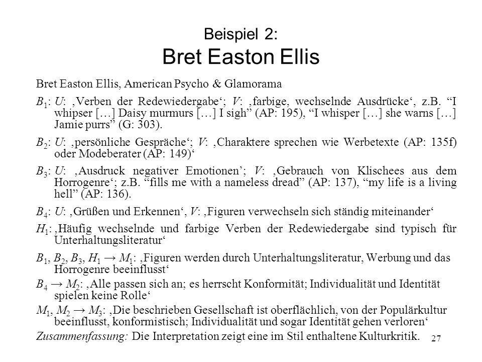Beispiel 2: Bret Easton Ellis
