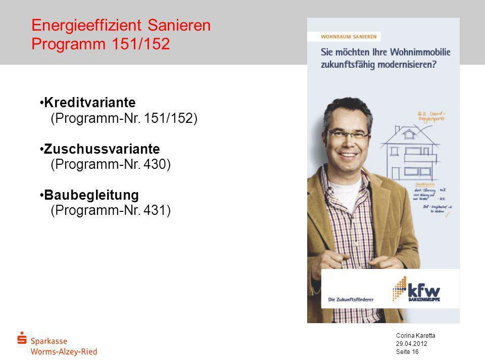 Energieeffizient Sanieren Programm 151/152