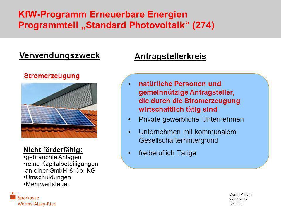 "KfW-Programm Erneuerbare Energien Programmteil ""Standard Photovoltaik (274)"
