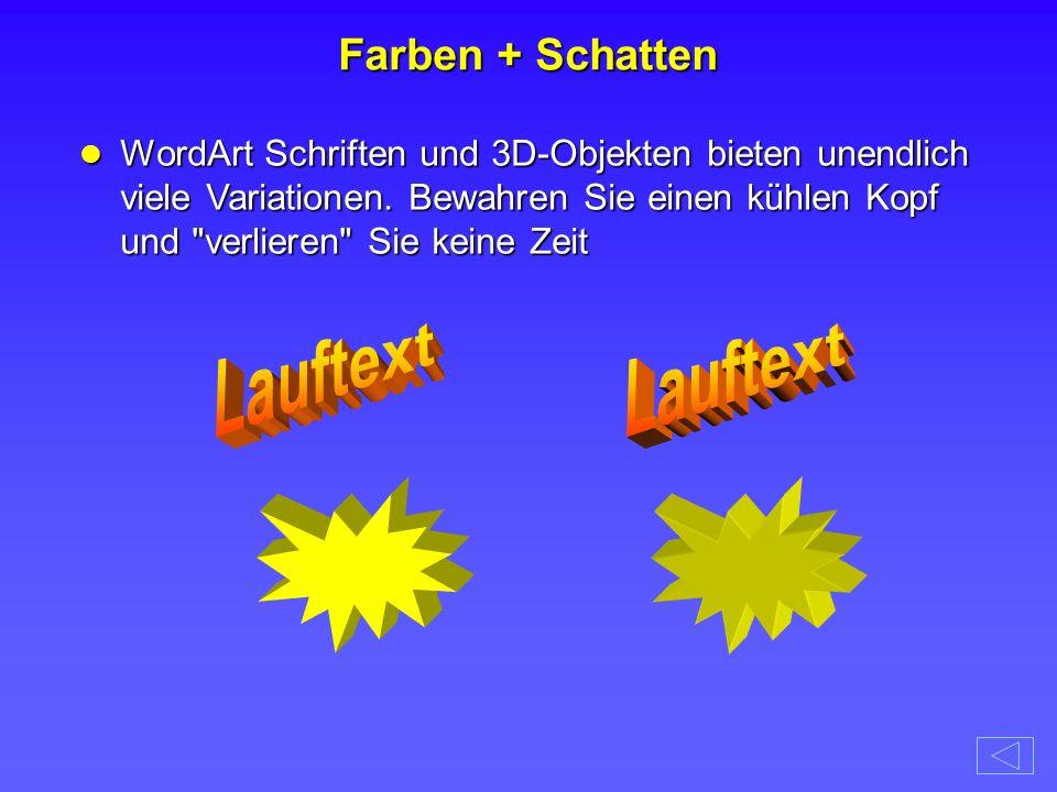 Lauftext Lauftext Farben + Schatten