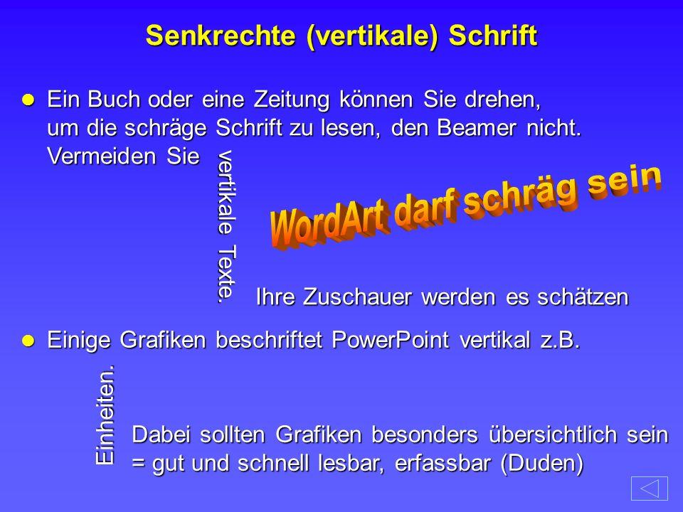 Senkrechte (vertikale) Schrift WordArt darf schräg sein