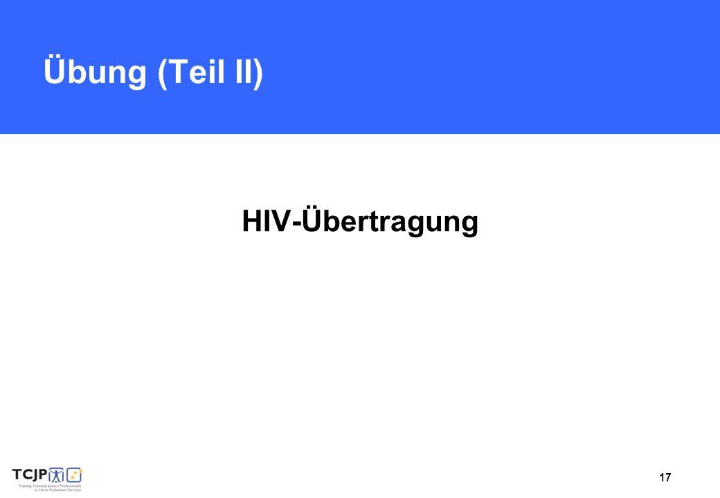 Übung (Teil II) HIV-Übertragung Benötigtes Material: Flipchart, Marker