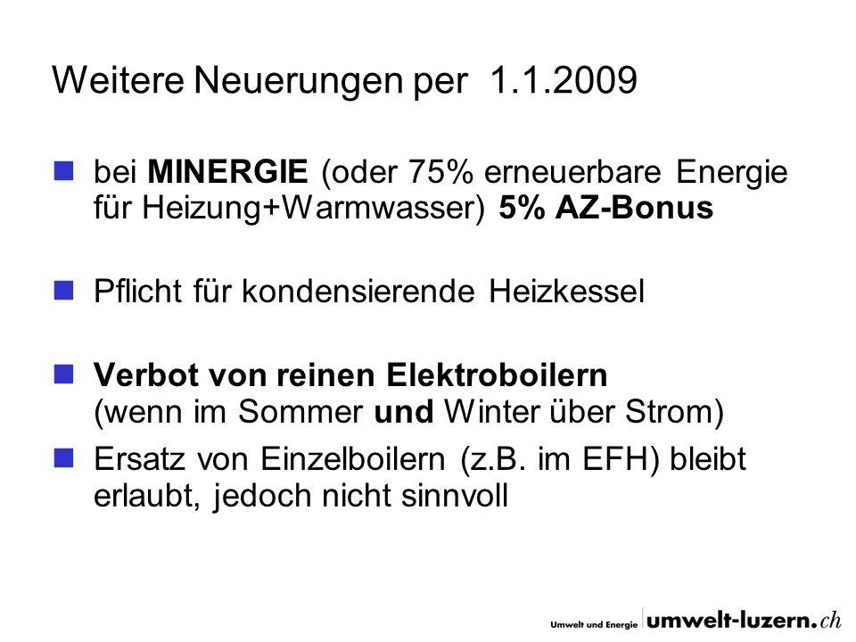 Weitere Neuerungen per 1.1.2009