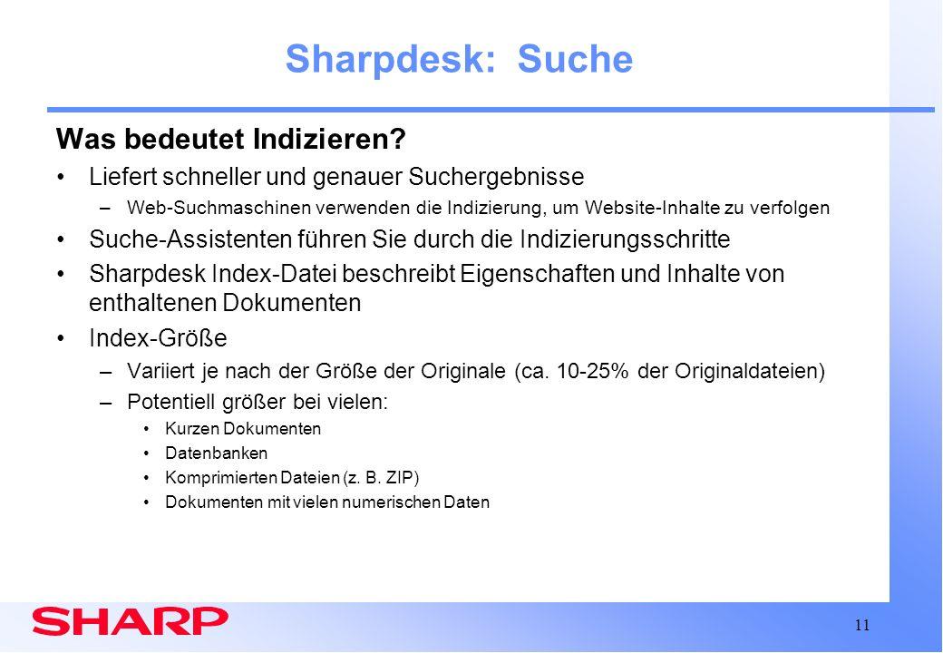 Sharpdesk: Suche Was bedeutet Indizieren