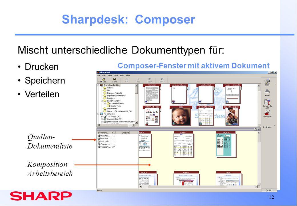 Sharpdesk: Composer Mischt unterschiedliche Dokumenttypen für: Drucken