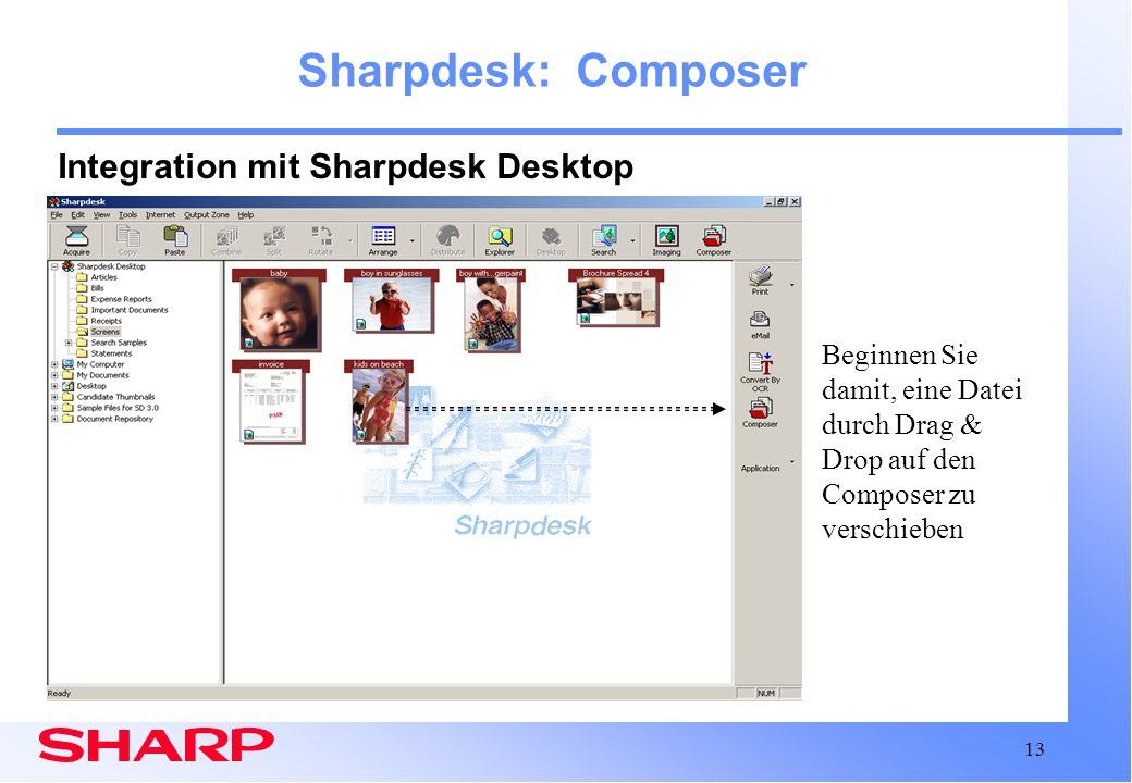 Sharpdesk: Composer Integration mit Sharpdesk Desktop