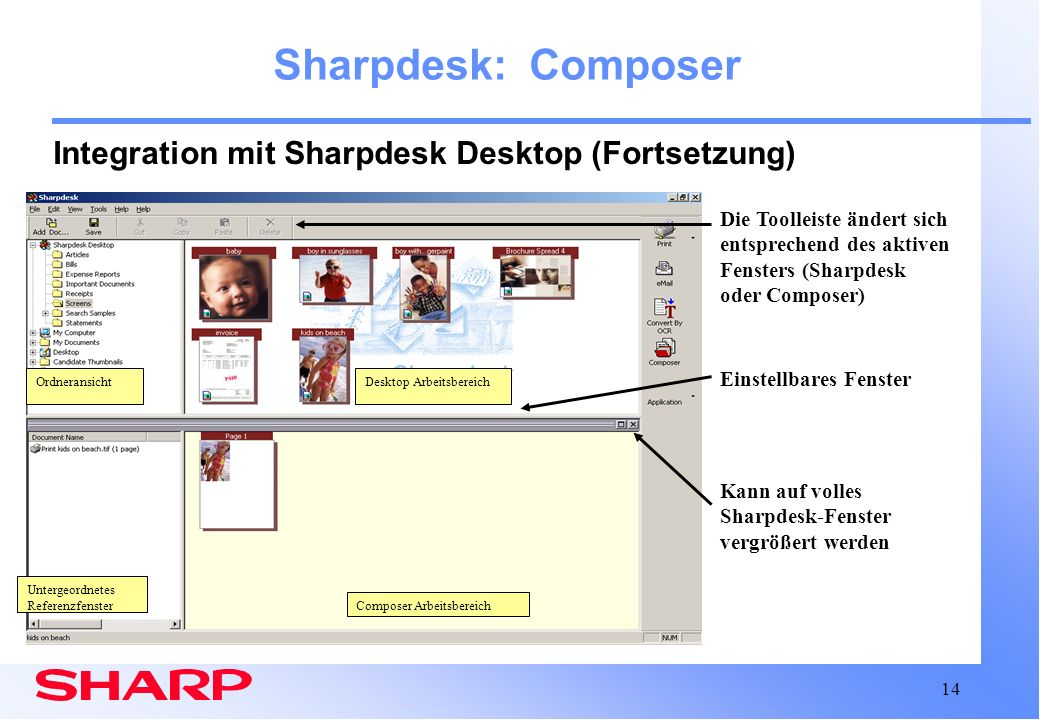 Sharpdesk: Composer Integration mit Sharpdesk Desktop (Fortsetzung)