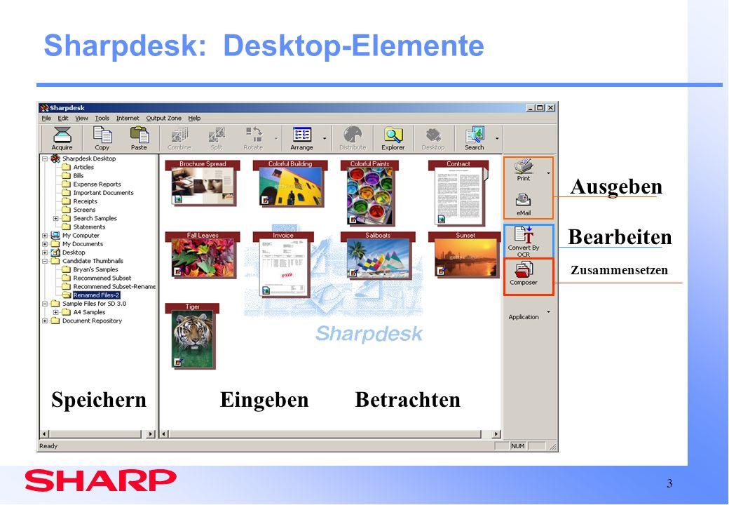 Sharpdesk: Desktop-Elemente