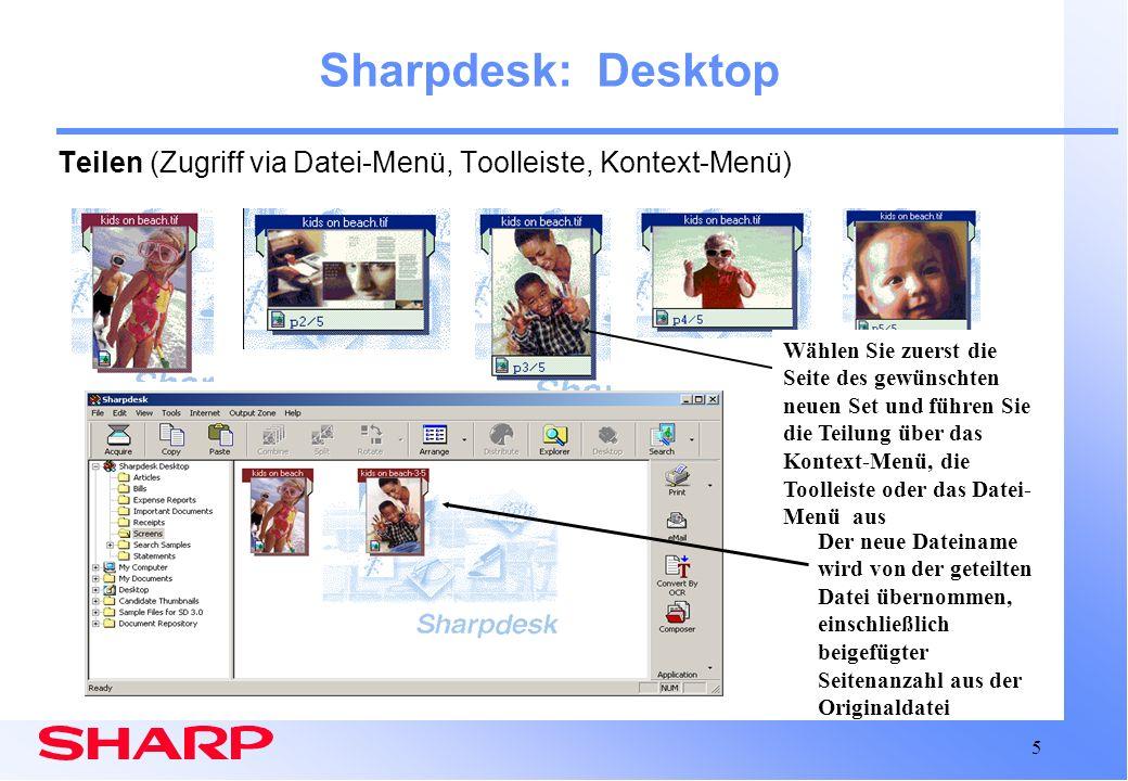 Sharpdesk: Desktop Teilen (Zugriff via Datei-Menü, Toolleiste, Kontext-Menü)