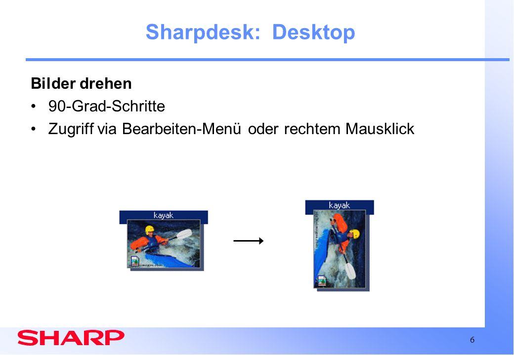Sharpdesk: Desktop Bilder drehen 90-Grad-Schritte