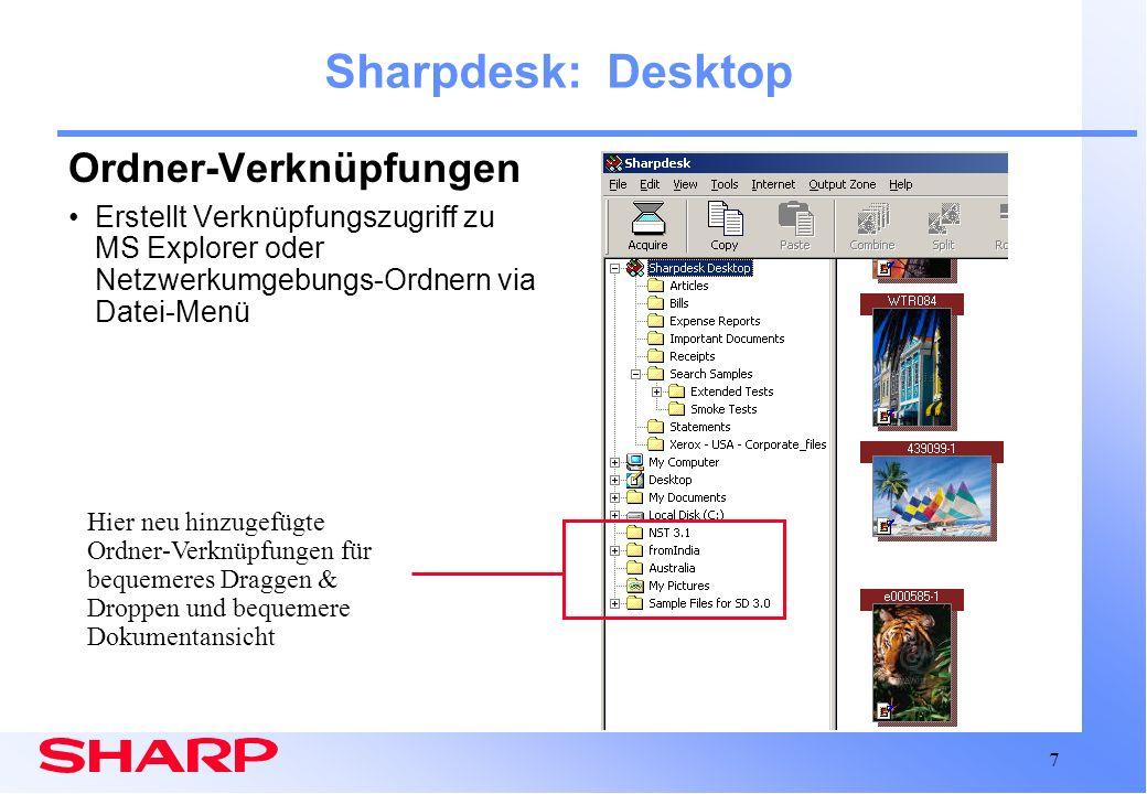 Sharpdesk: Desktop Ordner-Verknüpfungen