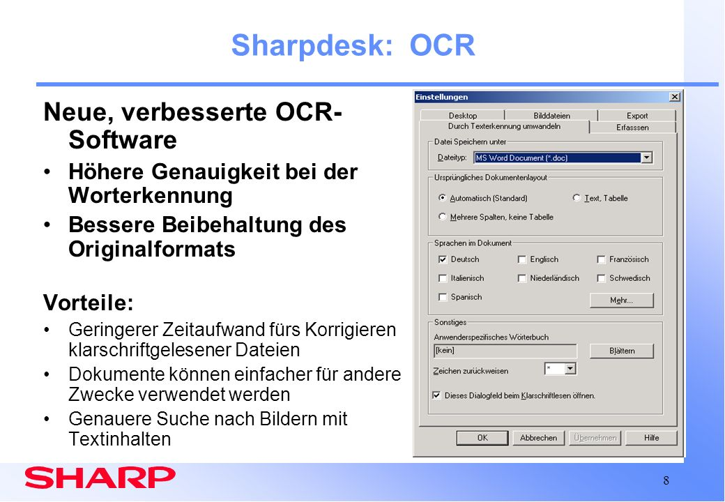 Sharpdesk: OCR Neue, verbesserte OCR-Software