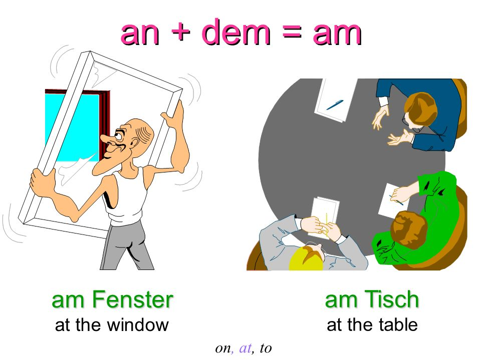 an + dem = am am Fenster am Tisch at the window at the table