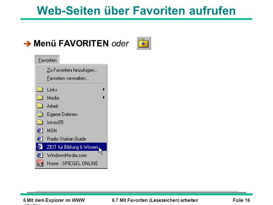 Web-Seiten über Favoriten aufrufen