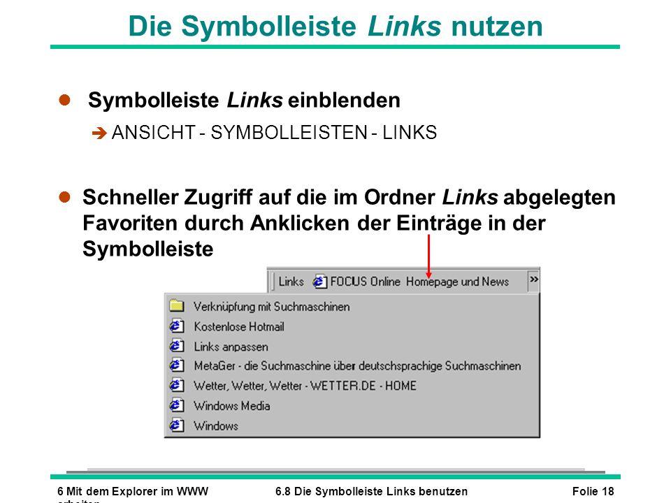 Die Symbolleiste Links nutzen