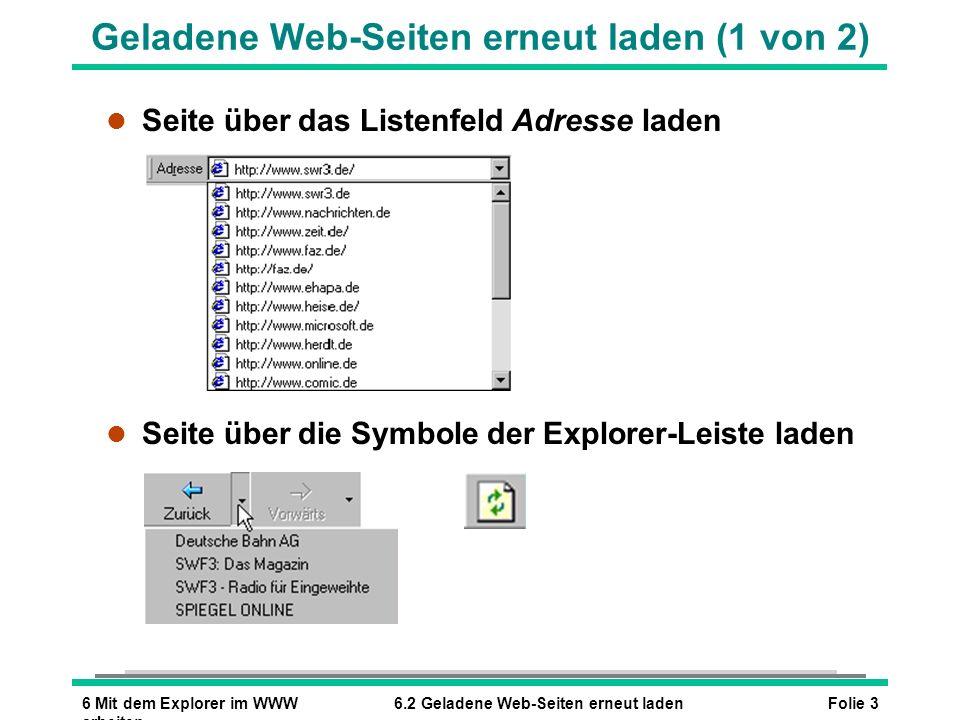 Geladene Web-Seiten erneut laden (1 von 2)
