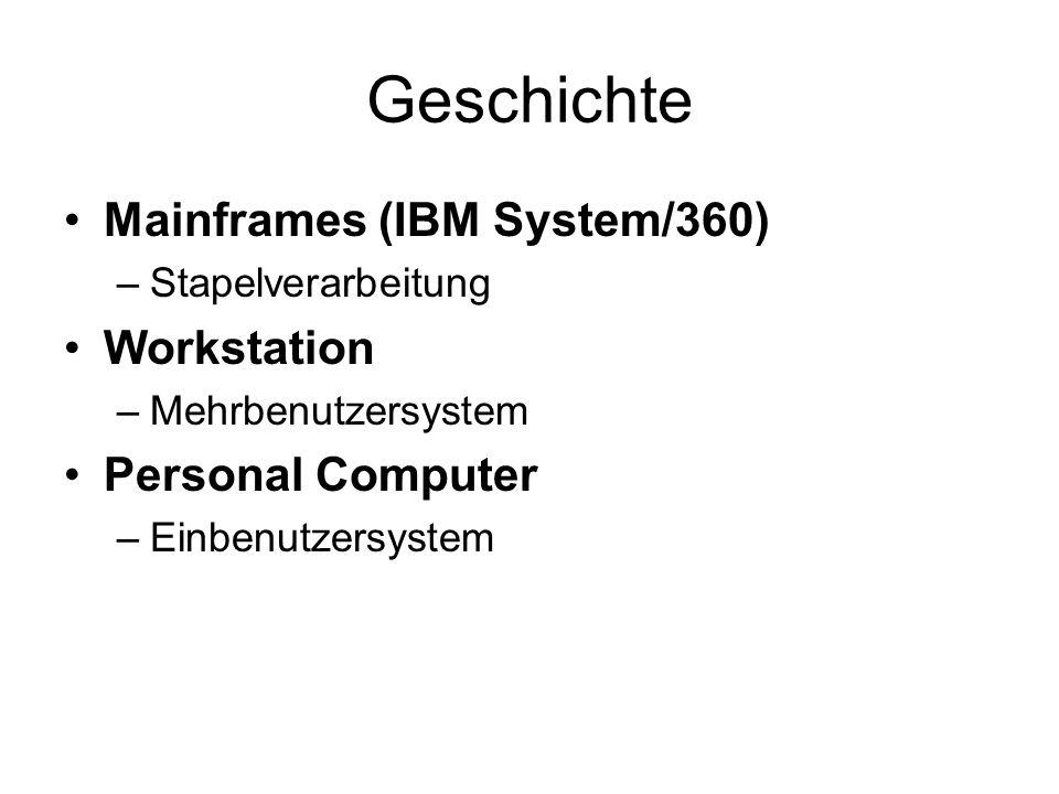 Geschichte Mainframes (IBM System/360) Workstation Personal Computer