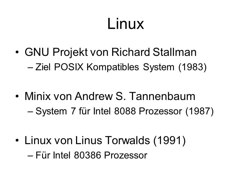 Linux GNU Projekt von Richard Stallman Minix von Andrew S. Tannenbaum