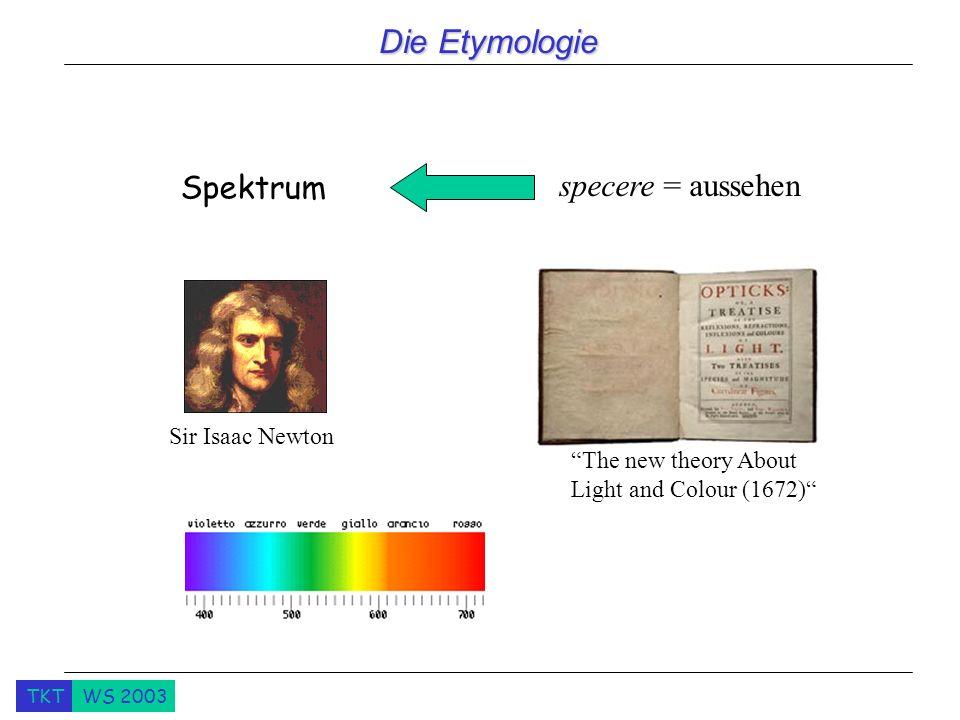 Die Etymologie Spektrum specere = aussehen Sir Isaac Newton