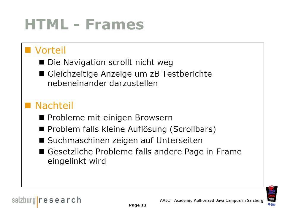 HTML - Frames Vorteil Nachteil Die Navigation scrollt nicht weg