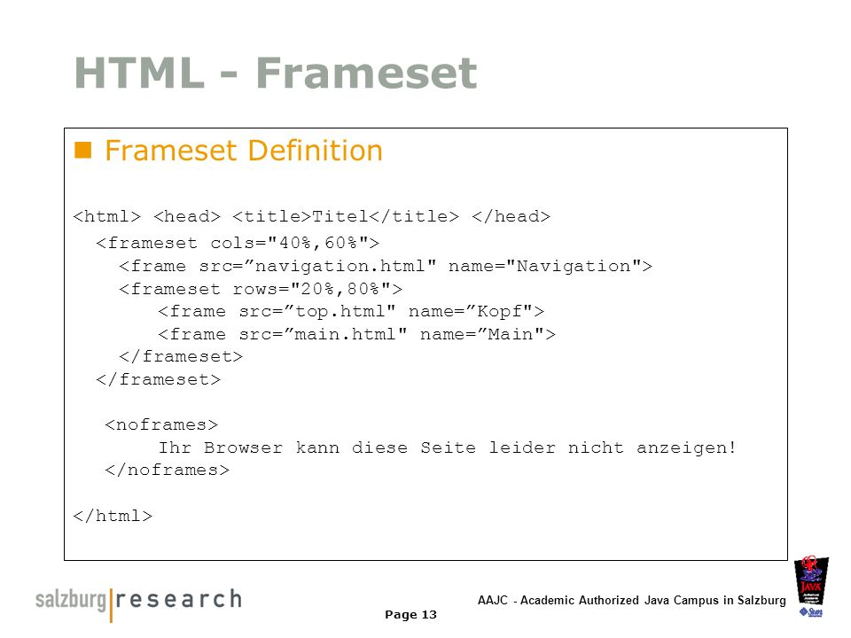 HTML - Frameset Frameset Definition