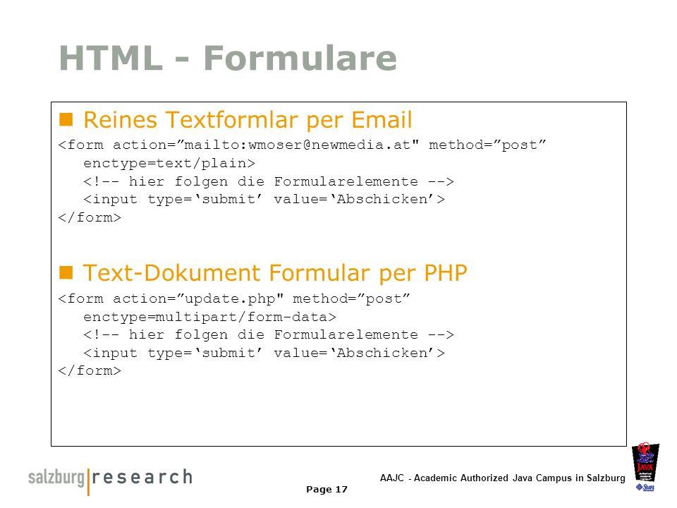 HTML - Formulare Reines Textformlar per Email