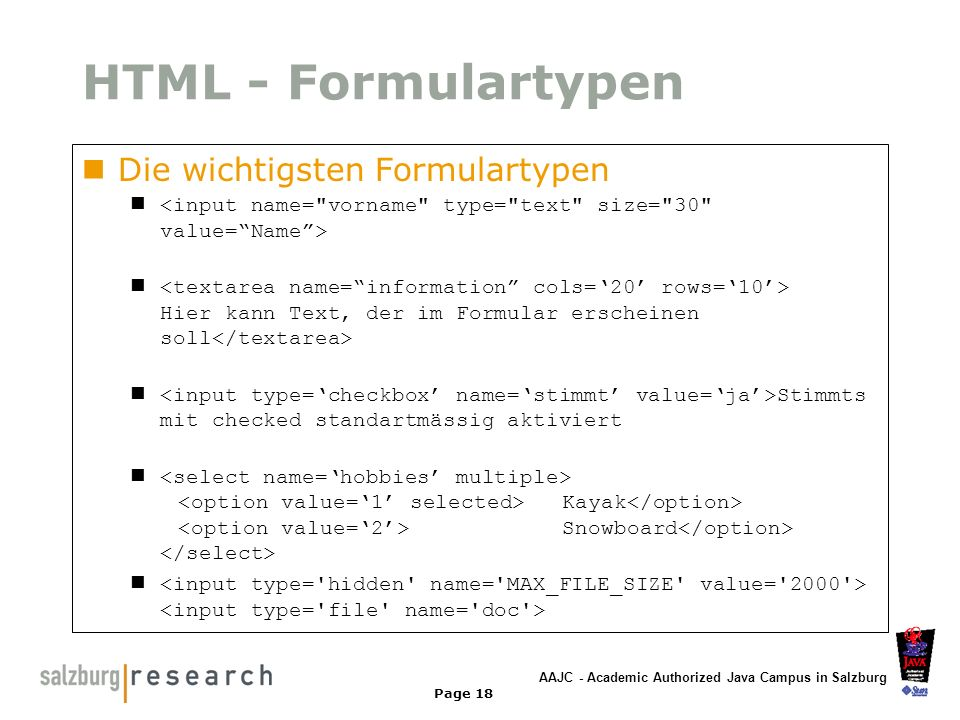 HTML - Formulartypen Die wichtigsten Formulartypen