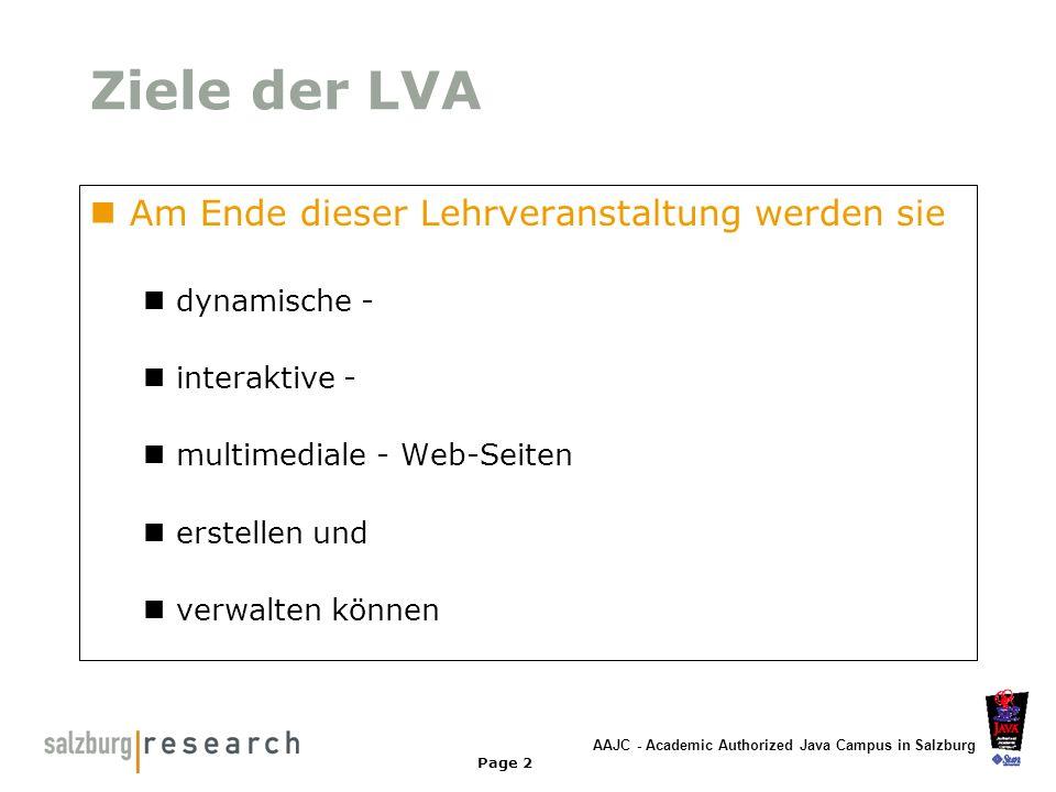 Ziele der LVA Am Ende dieser Lehrveranstaltung werden sie dynamische -