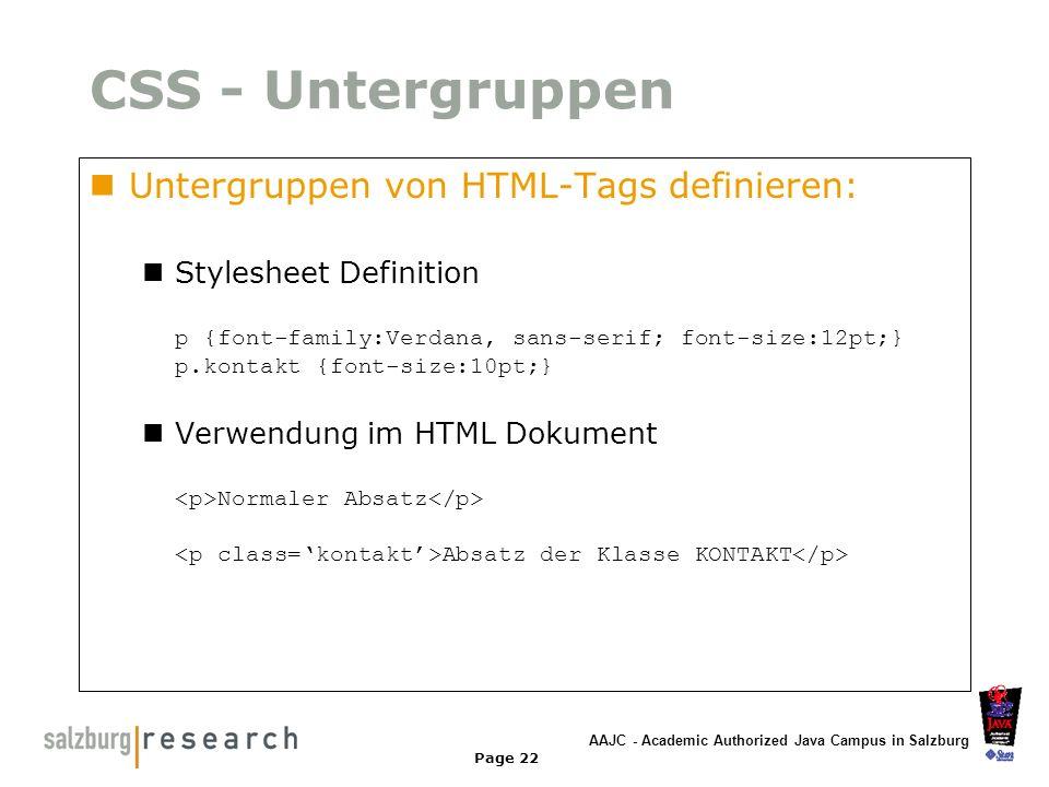 CSS - Untergruppen Untergruppen von HTML-Tags definieren: