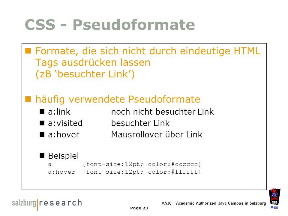 CSS - Pseudoformate Formate, die sich nicht durch eindeutige HTML Tags ausdrücken lassen (zB 'besuchter Link')